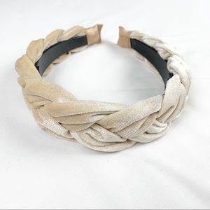 2/$25 Velvet Braided Headband  - Cream